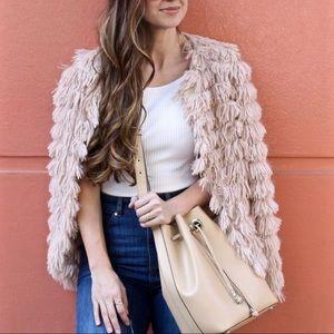 Cream blush open front jacket